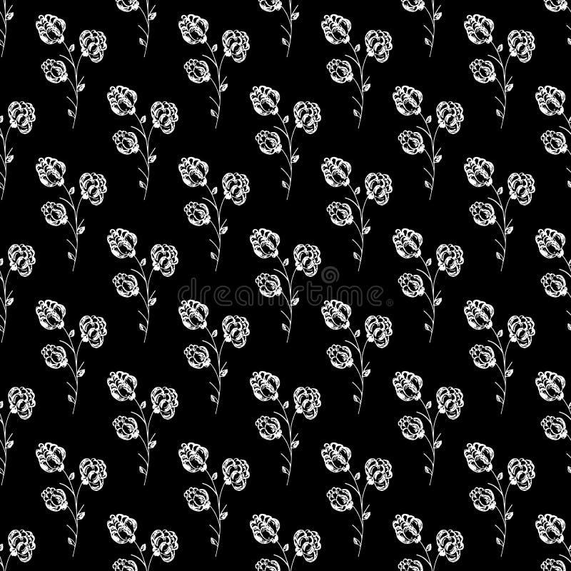 Bezszwowa ręka rysujący wzór odizolowywający abstrakcjonistyczna czernica na czarnym tle kwiecisty wektor ilustracyjny Śliczny do royalty ilustracja