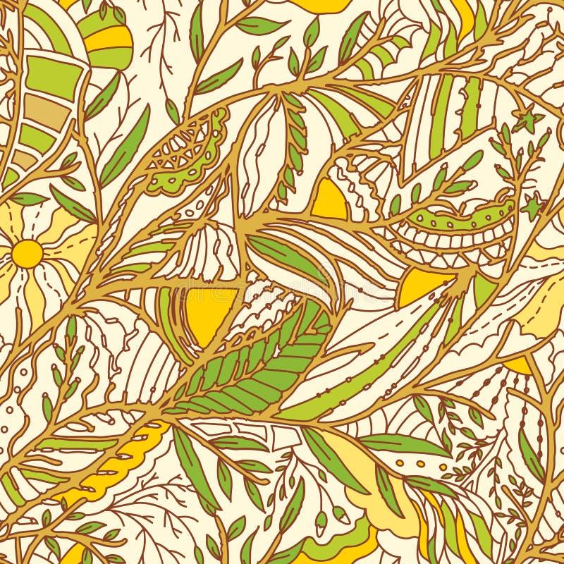 Bezszwowa ręka rysujący wzór z liśćmi ilustracji