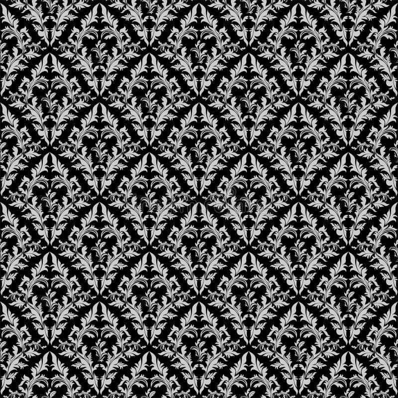 Bezszwowa retro kwiecista tapeta - szarość ornament na czerni ilustracji