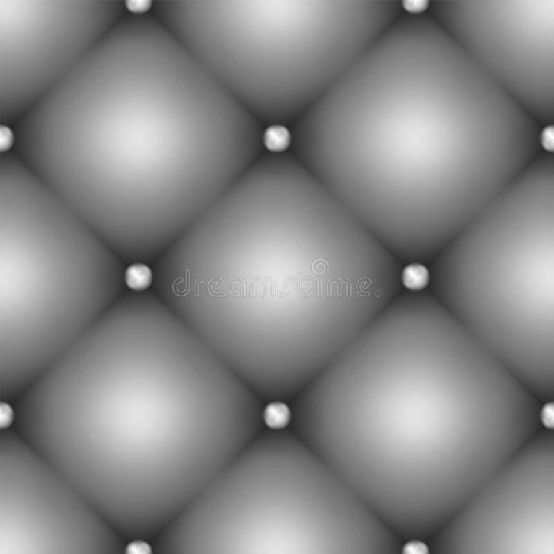 Bezszwowa szara rzemienna tapicerowanie tekstura z metalem zapina ilustracji