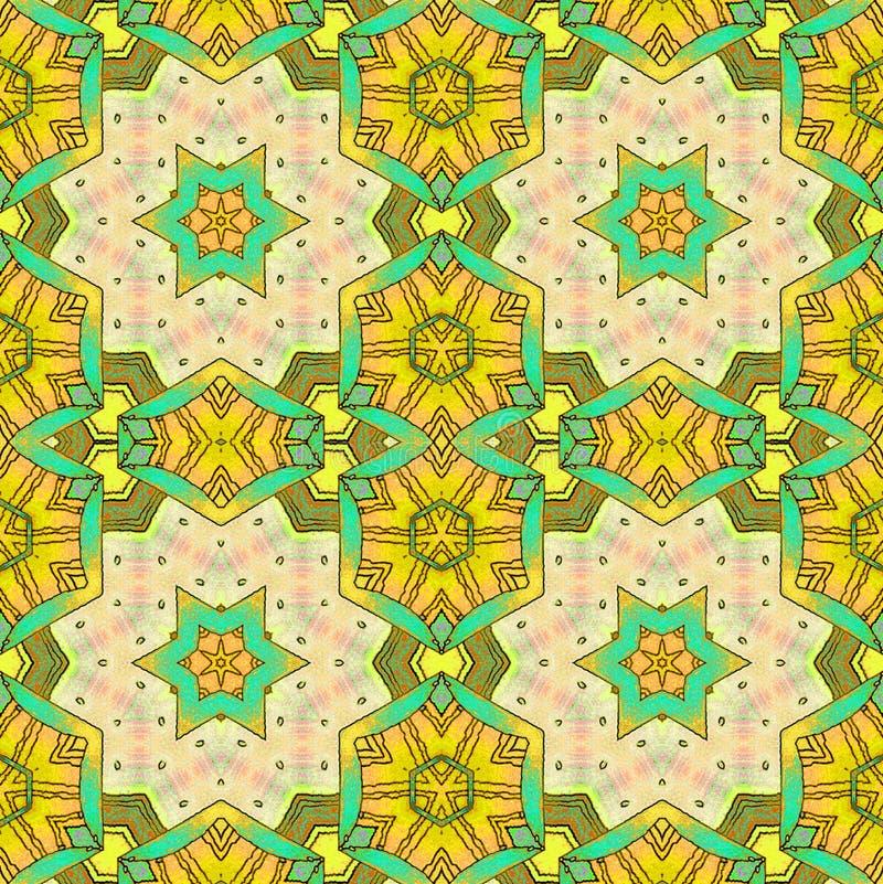 Bezszwowa sześciokąta i gwiazda wzoru żółta zieleń royalty ilustracja