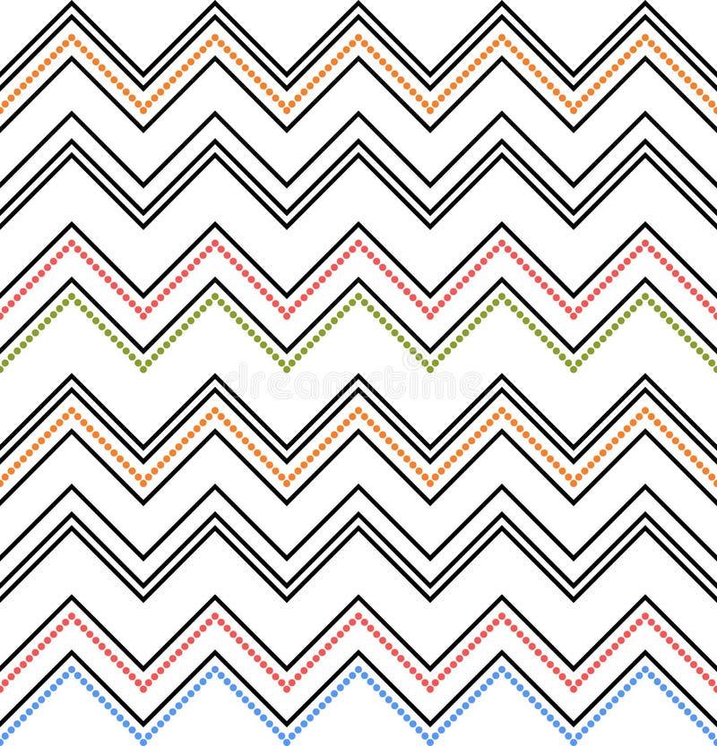 Bezszwowa szewron tekstura Barwiony zygzakowaty wzór na bielu royalty ilustracja