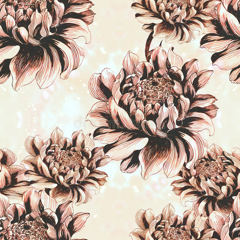 Bezszwowa tapeta - imbir kwitnie na akwareli tle ilustracji