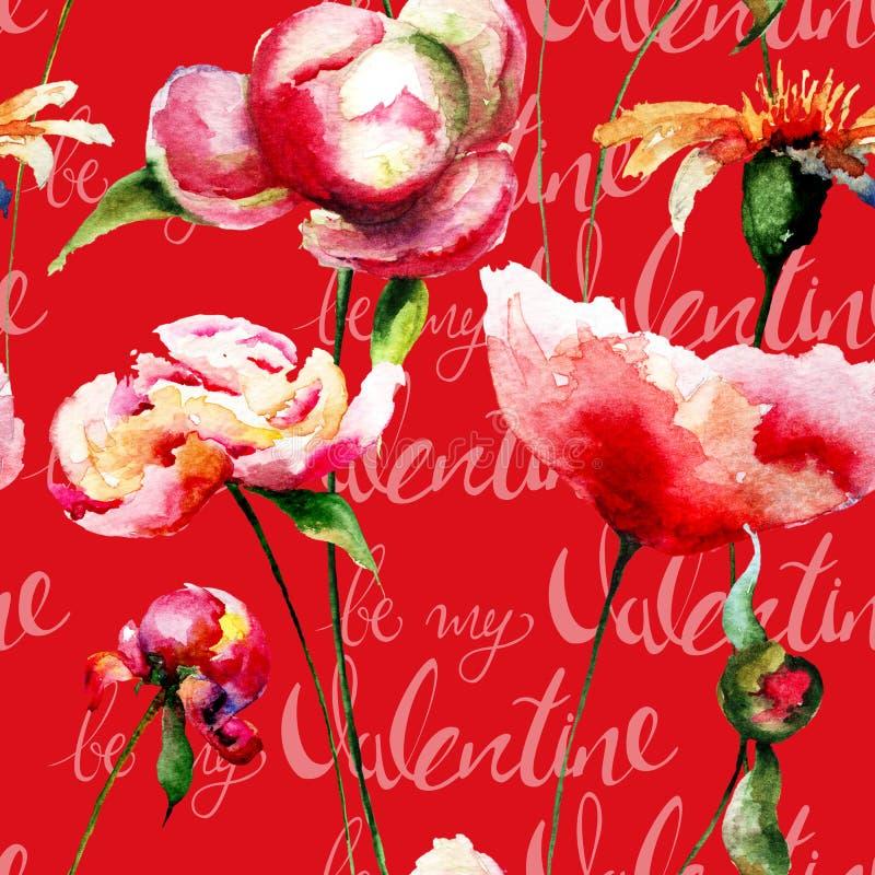 Bezszwowa tapeta z peonia kwiatami i tytuł byliśmy mój walentynką royalty ilustracja
