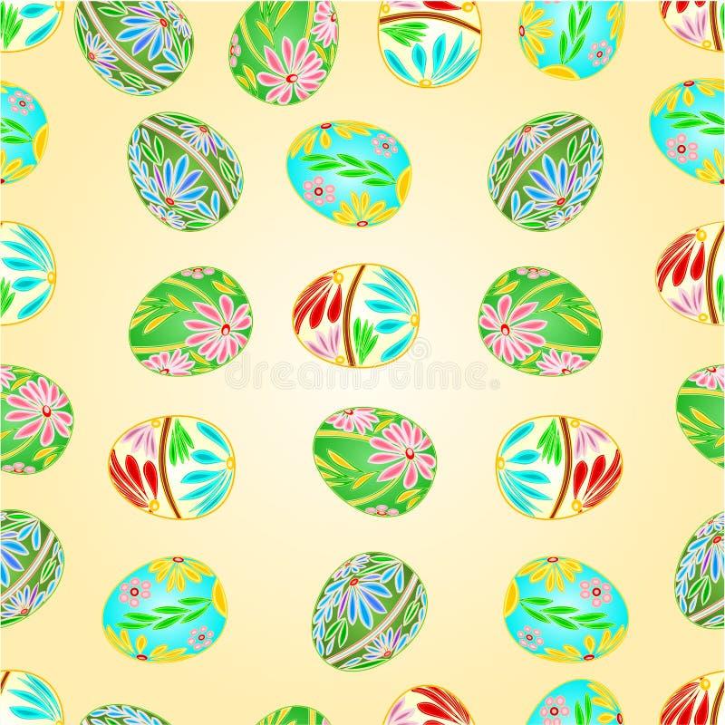 Bezszwowa tekstur Wielkanocnych jajek kwiecista deseniowa wektorowa ilustracja ilustracja wektor