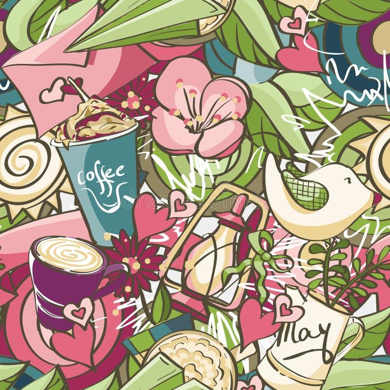 Bezszwowa tekstura barwioni wiosen doodles ilustracja wektor