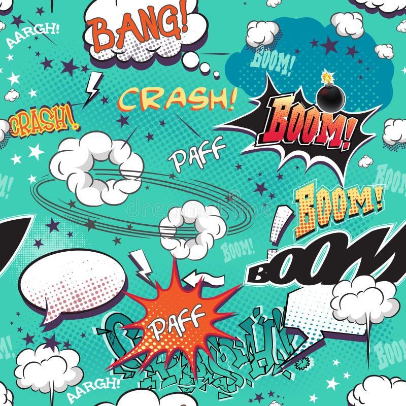 Bezszwowa tekstura dla tła z wizerunków elementów komiczek stroną z bąblami dla mowy, różnych dźwięków i strzała, ilustracja wektor