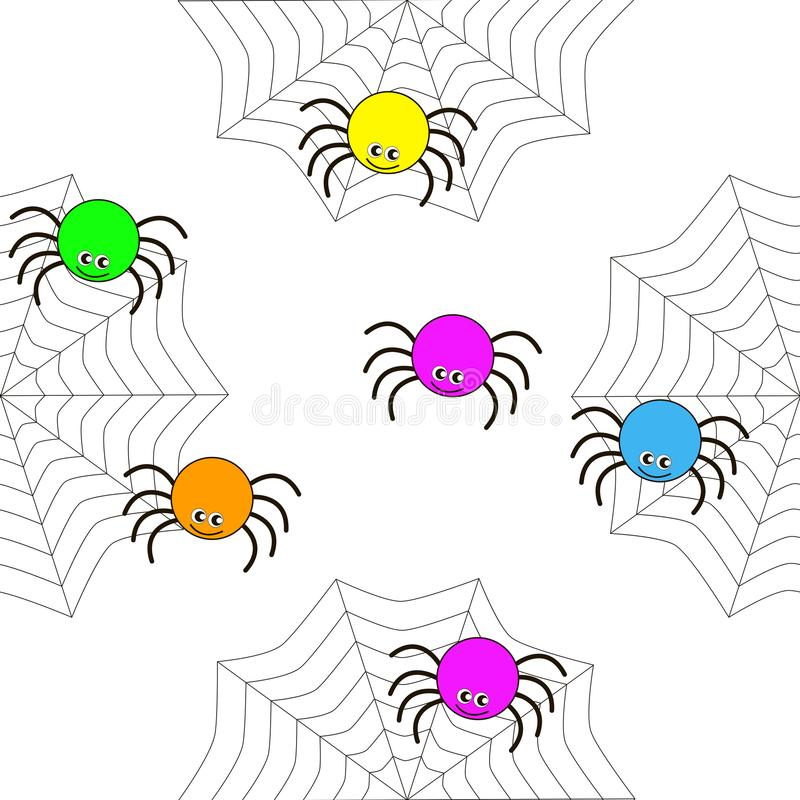 Bezszwowa tekstura kreskówka pająki obrazy royalty free
