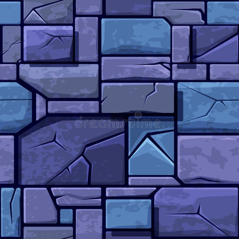 Bezszwowa tekstura stary błękitny kamień, tło kamiennej ściany płytki Wektorowa ilustracja dla interfejs użytkownika gra ilustracji