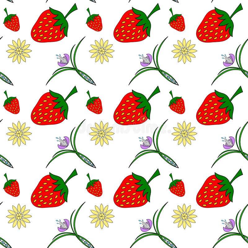 Bezszwowa tekstura truskawki i kwiaty obraz royalty free