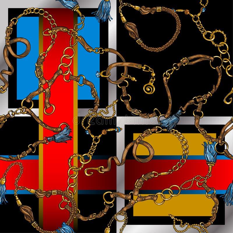 Bezszwowa tekstura w stylu 80's od pasków i łańcuchów ilustracji
