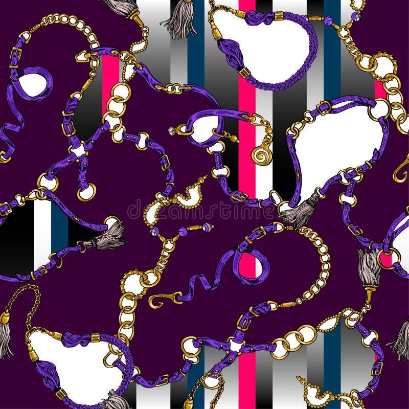Bezszwowa tekstura w stylu 80's od pasków i łańcuchów ilustracja wektor