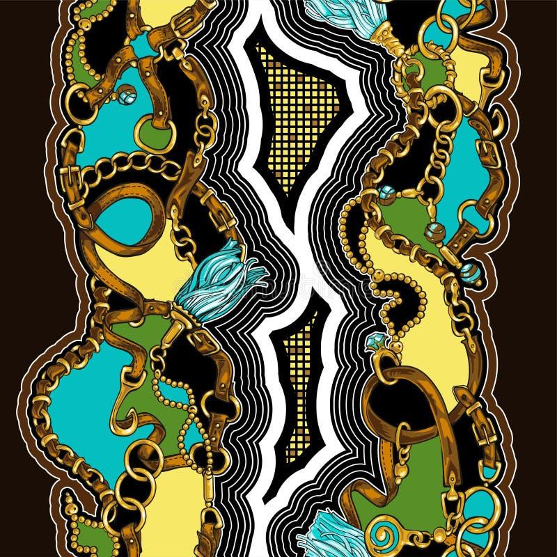 Bezszwowa tekstura w stylu 80's od pasków i złotych łańcuchów zdjęcie stock