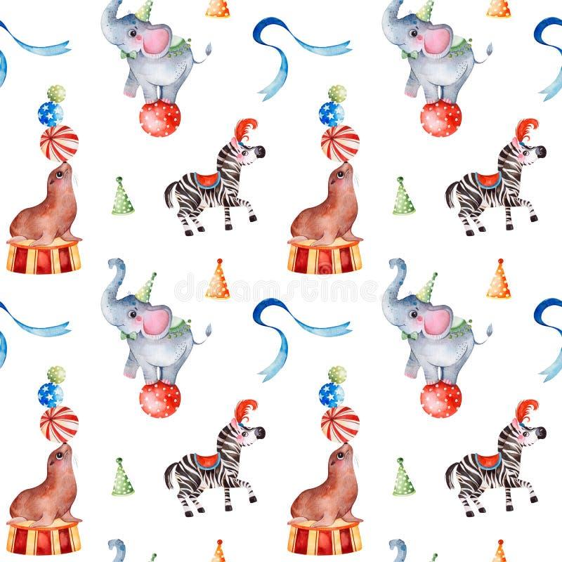 Bezszwowa tekstura z ślicznym małym słoniem na piłce, zebra, futerkowa foka, faborek ilustracji