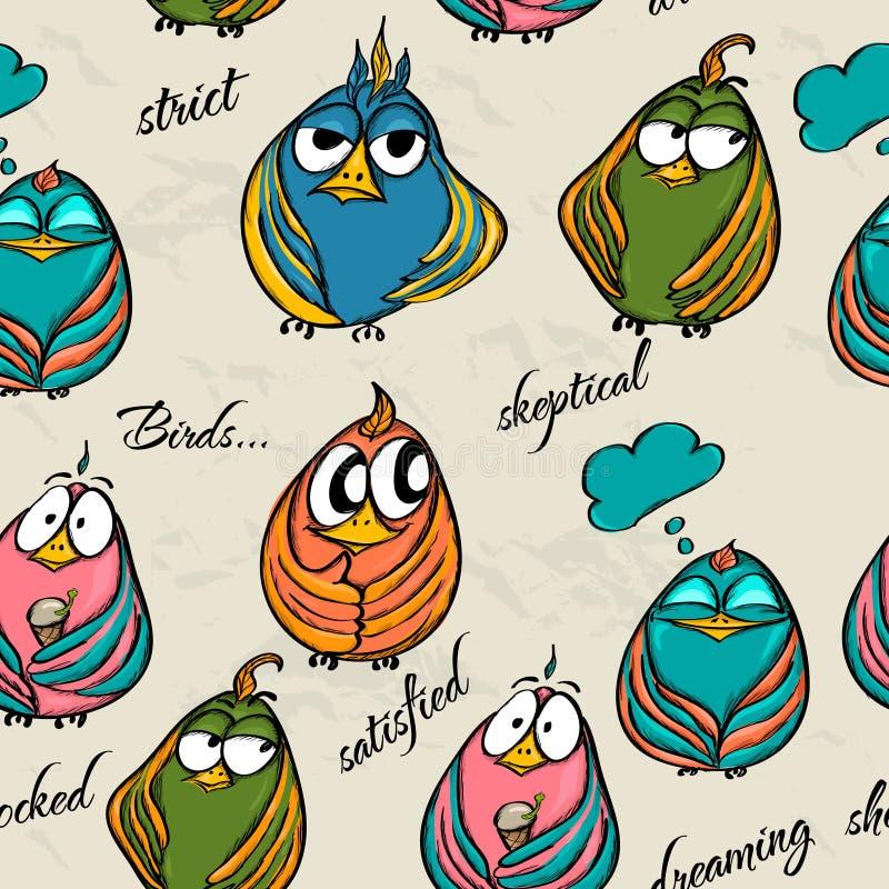 Bezszwowa tekstura z śmiesznymi ptakami. royalty ilustracja