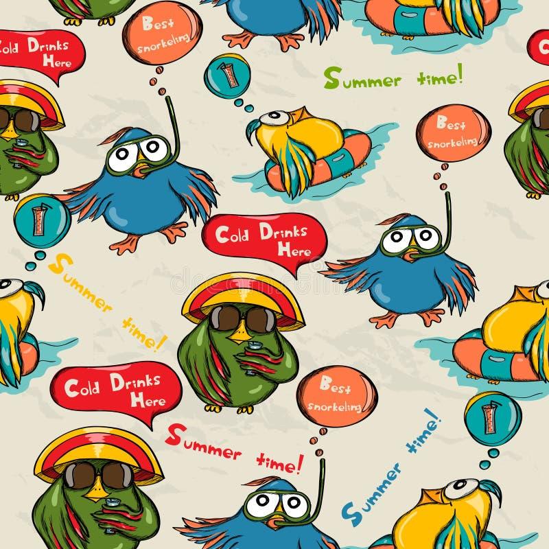 Bezszwowa tekstura z śmiesznymi ptakami. ilustracja wektor