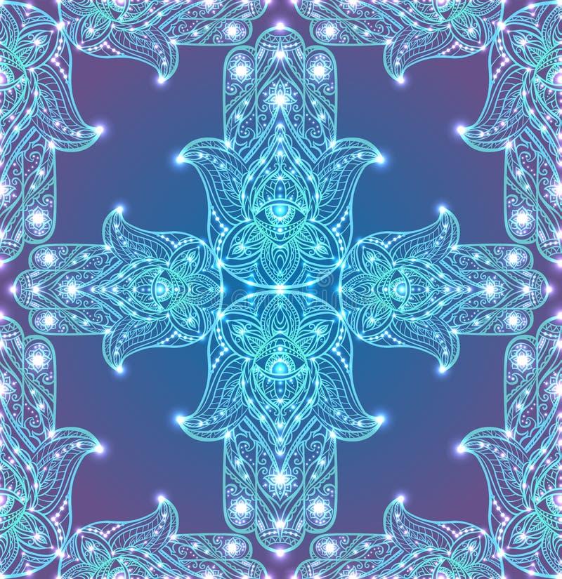 Bezszwowa tekstura z barwionym plemiennym Hamsa z boho wzorem ilustracji