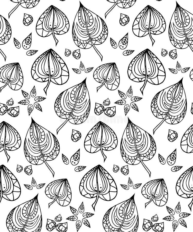 Bezszwowa tekstura z czarny i biały doodle liśćmi ilustracji