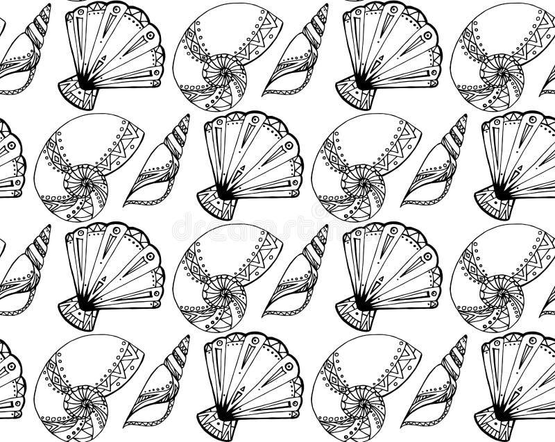Bezszwowa tekstura z czarny i biały doodle seashells ilustracji