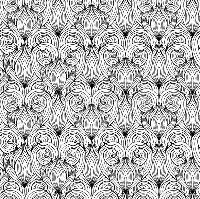 Bezszwowa tekstura z czarny i biały doodle sercami ilustracji