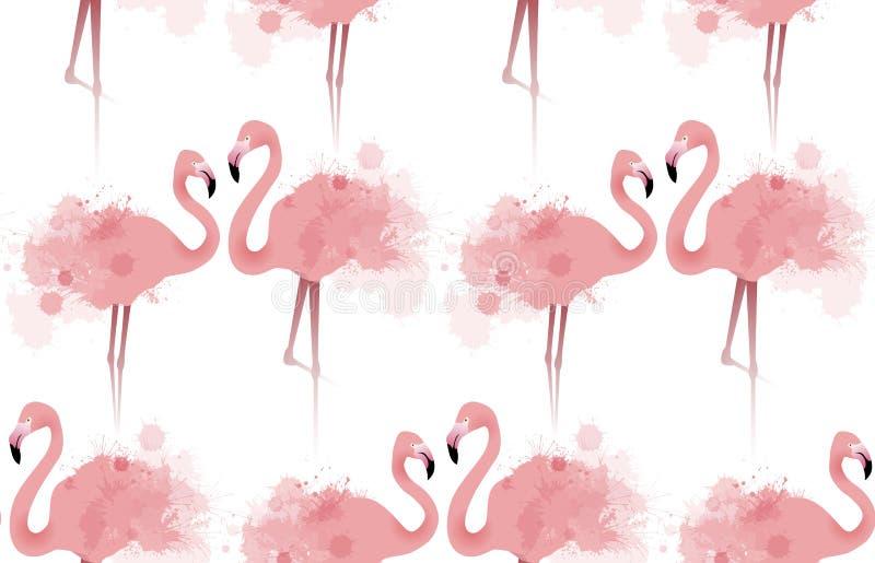 Bezszwowa tekstura z delikatnymi różowymi flamingami royalty ilustracja
