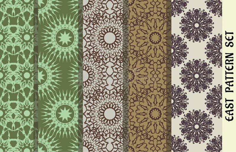 Bezszwowa tekstura z geometrycznym ornamentem wzory ustawiający wektor Arabscy projektów elementy fotografia stock