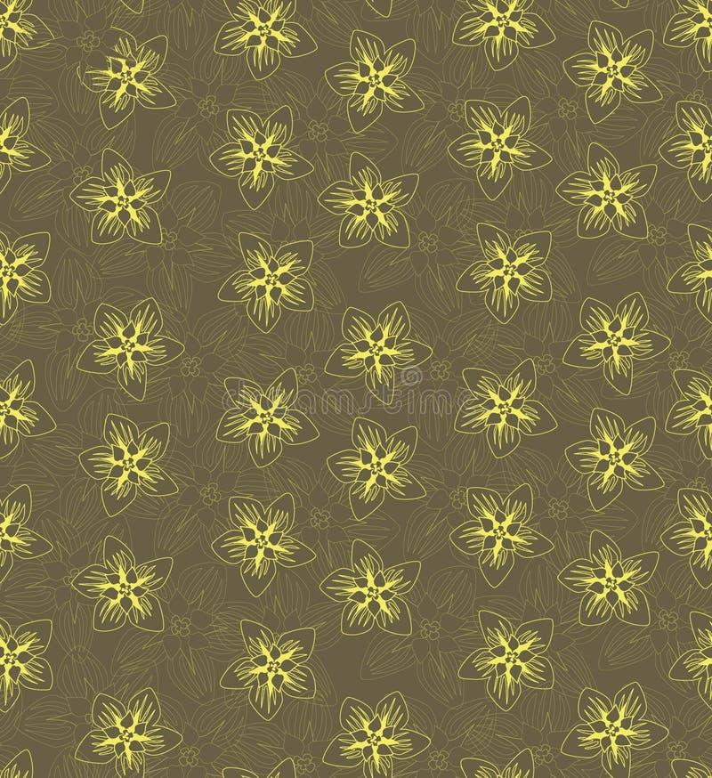 Bezszwowa tekstura z konturu kolor żółty kwiatami ilustracji