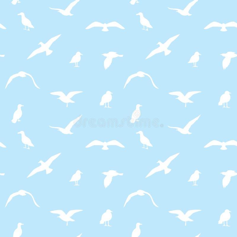 Bezszwowa tekstura z latającymi seagulls ilustracji