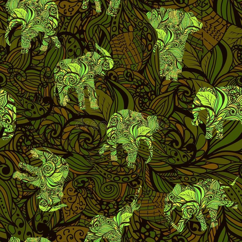 Bezszwowa tekstura z słoniami w indianina stylu Wektorowym niekończący się tle ilustracja wektor