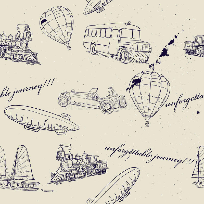 Bezszwowa tekstura z setem rocznika transport. ilustracji