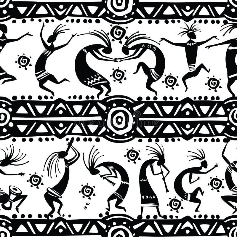 Bezszwowa tekstura z taniec postaciami ilustracji