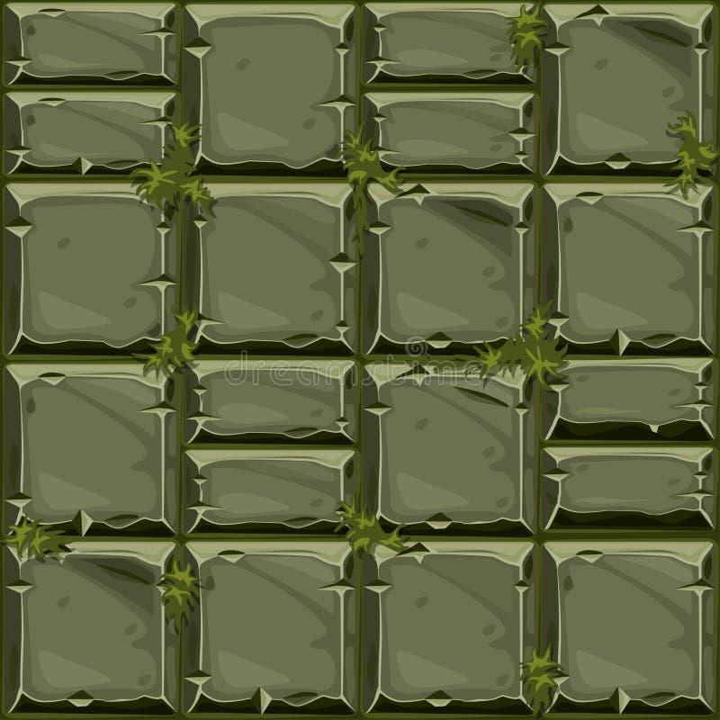 Bezszwowa tekstura zieleń kamień na trawie, tło kamiennej ściany płytki Wektorowa ilustracja dla interfejs użytkownika royalty ilustracja