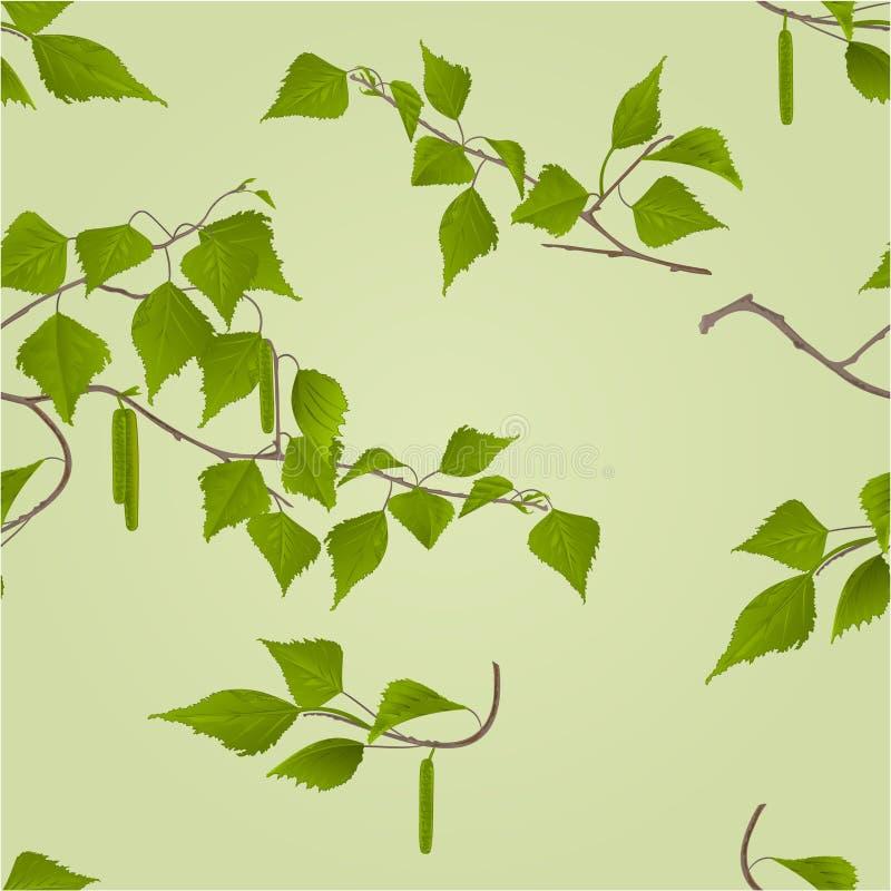 Bezszwowa tekstury brzozy gałązka z baziami wektorowymi ilustracji