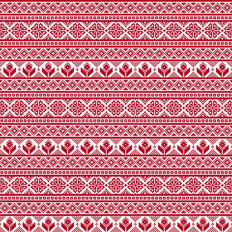 Bezszwowa tkanina piksel Wesoło boże narodzenia i szczęśliwy nowy rok okazja czerwony biel Ornament ilustracja wektor