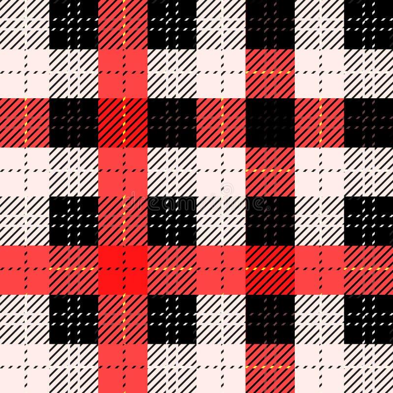 Bezszwowa tradycyjna Szkocka colourful tartan tkanina Czerń, czerwień z białymi lampasami Sukienny tło lub tekstura ilustracji