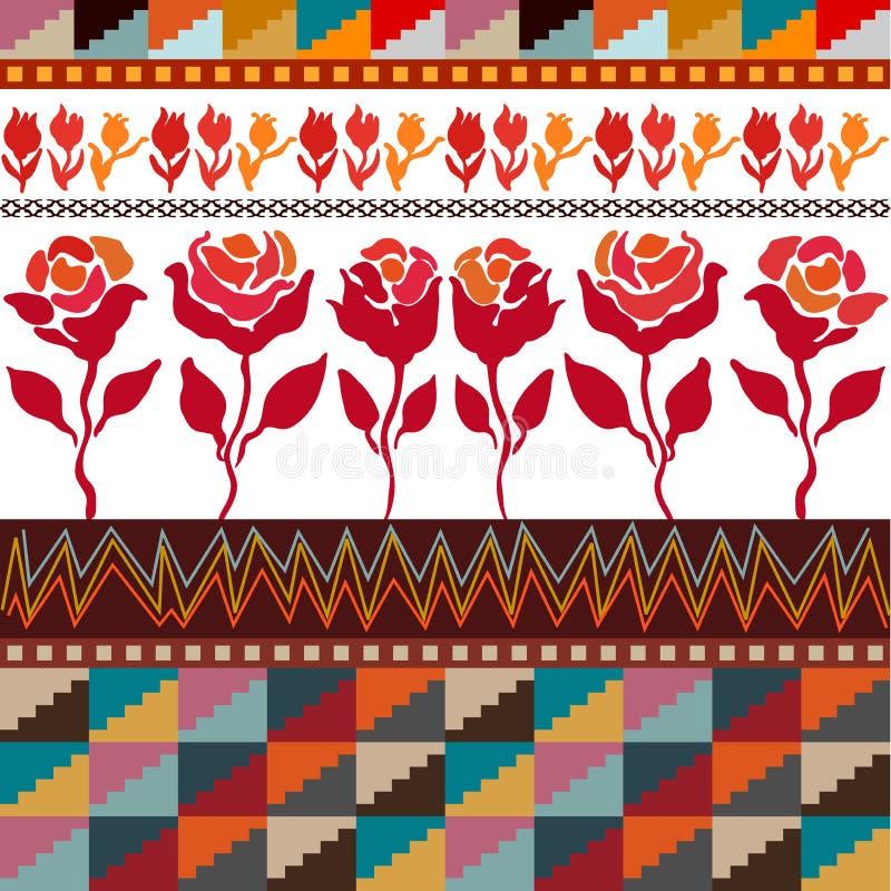 Bezszwowa wektor granica z różami inspirować ludową sztuką royalty ilustracja