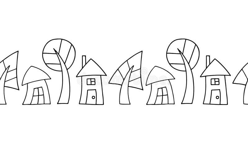 Bezszwowa wektorowa dekoracyjna ręka rysujący czarny i biały wzór z drzewami i domami Graficzna ilustracja ilustracja wektor