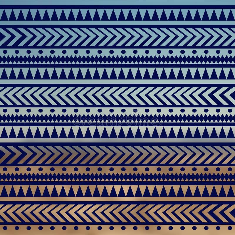 Bezszwowa wektorowa plemienna tekstura Plemienny wektoru wzór Kolorowy etniczny pasiasty wzór Geometryczne granicy tradycyjne orn ilustracji