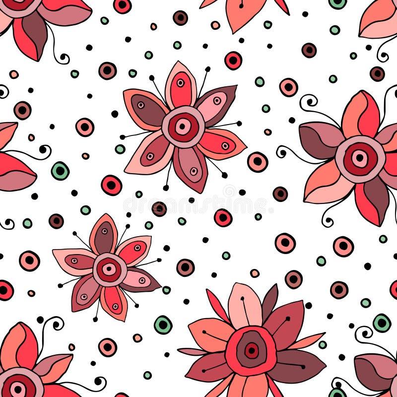 Bezszwowa wektorowa ręka rysujący doodle dziecinny kwiecisty wzór Tło z dziecięcymi kwiatami, liście Dekoracyjna śliczna grafiki  royalty ilustracja