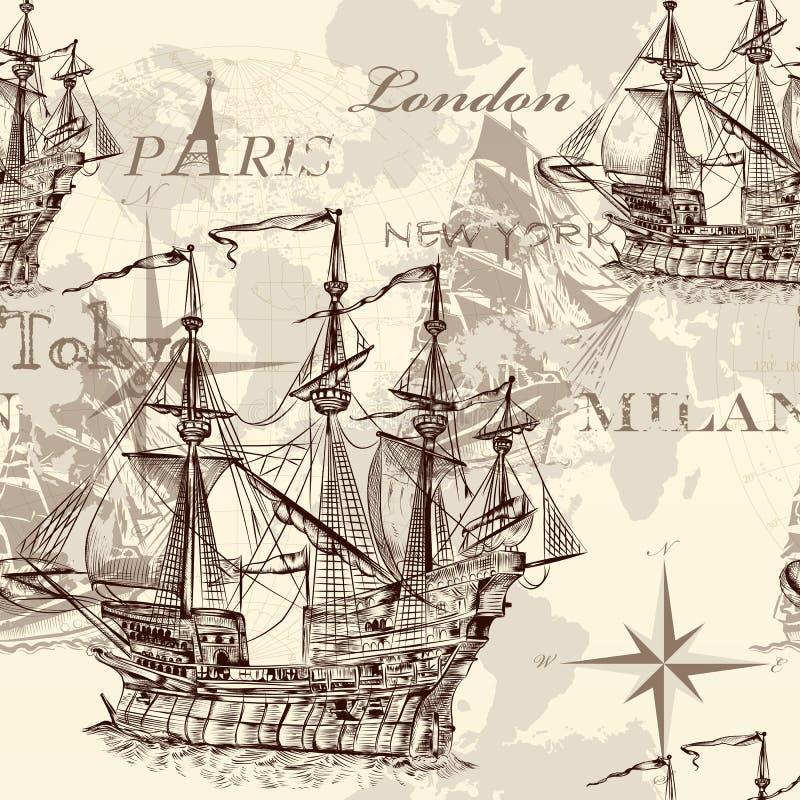 Bezszwowa wektorowa tapeta z statkiem w rocznika stylu ilustracja wektor