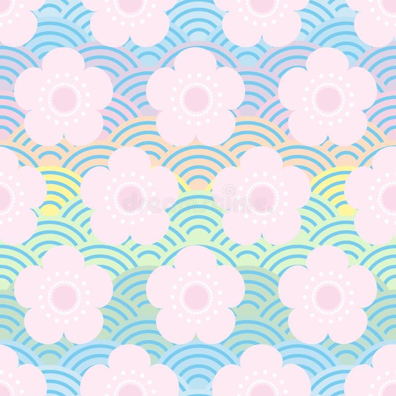 bezszwowa wzór menchia kwitnie japońskich czereśniowych okwitnięcia na błękitnym tęczy tle Azjatycki prosty ornament, orientalne  ilustracji