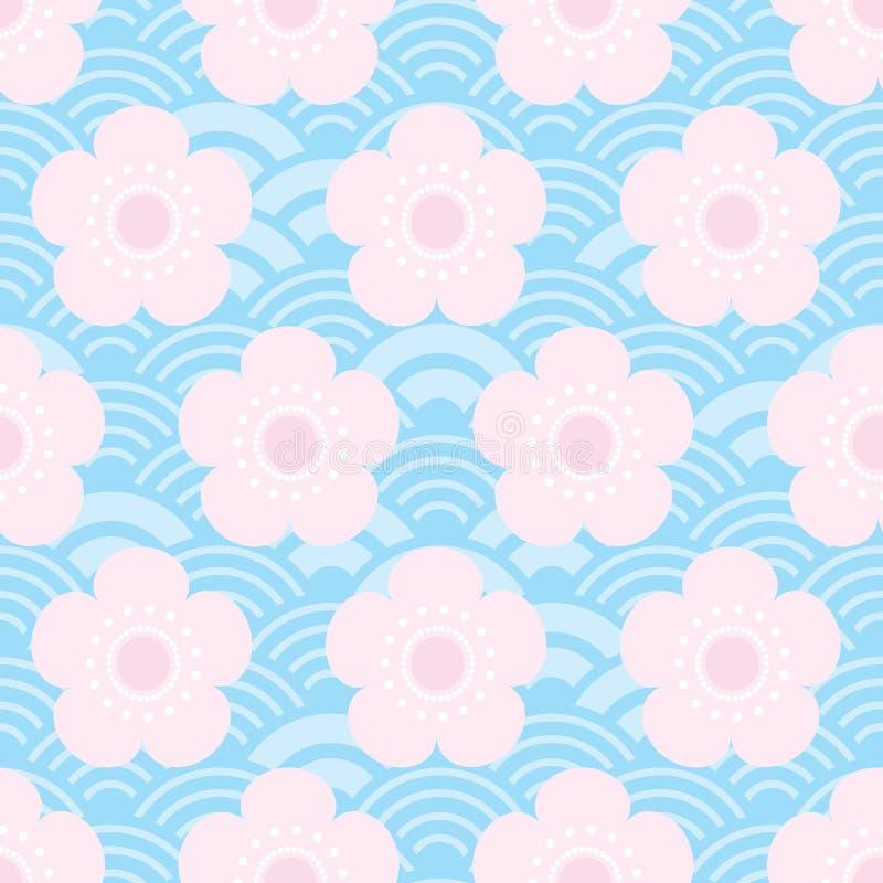 bezszwowa wzór menchia kwitnie japońskich czereśniowych okwitnięcia na błękitnym tle Azjatycki prosty ornament, orientalne stylow ilustracja wektor
