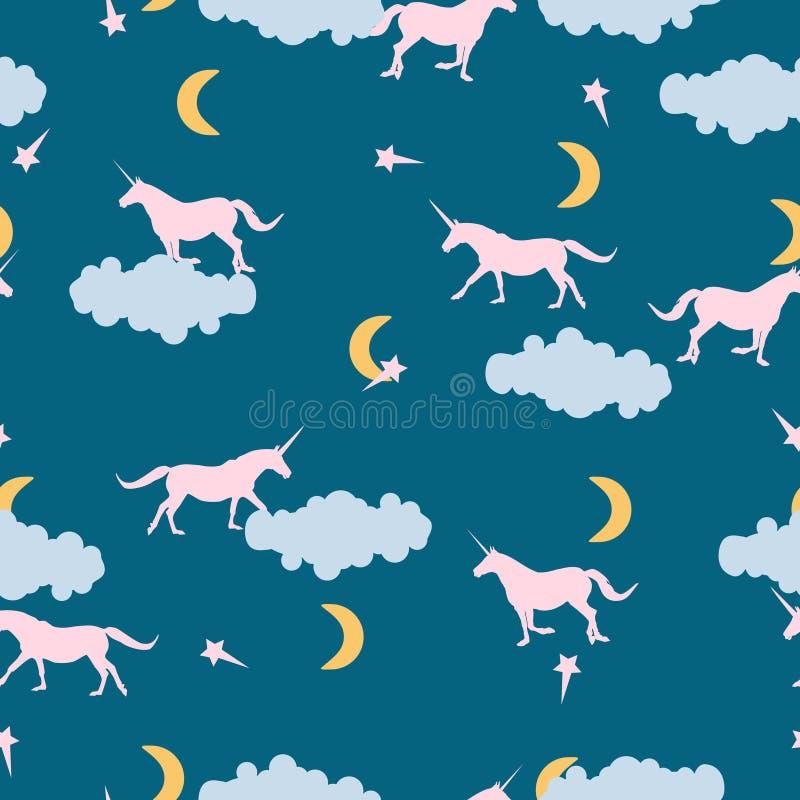 Bezszwowa wzór menchii jednorożec, gwiazdy i księżyc w błękitnym, wektor ilustracji