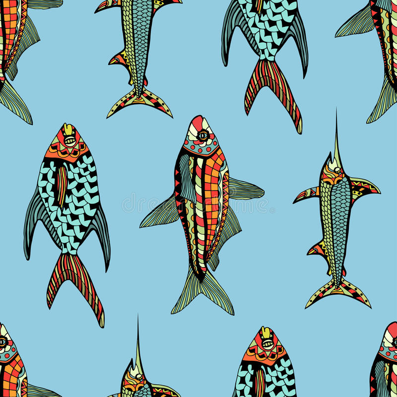 Bezszwowa wzór ryba royalty ilustracja