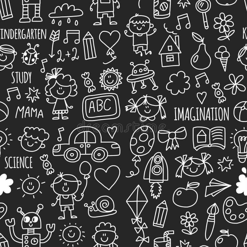 Bezszwowa wzór szkoła, dzieciniec Szczęśliwi dzieci Twórczość, wyobraźni doodle ikony z dzieciakami Sztuka, nauka, r ilustracji