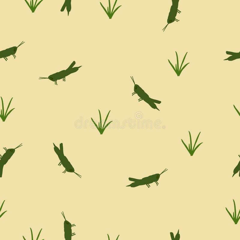 Bezszwowa wzór zieleni szarańcza i trawa na kolorze żółtym, wektor eps 10 royalty ilustracja