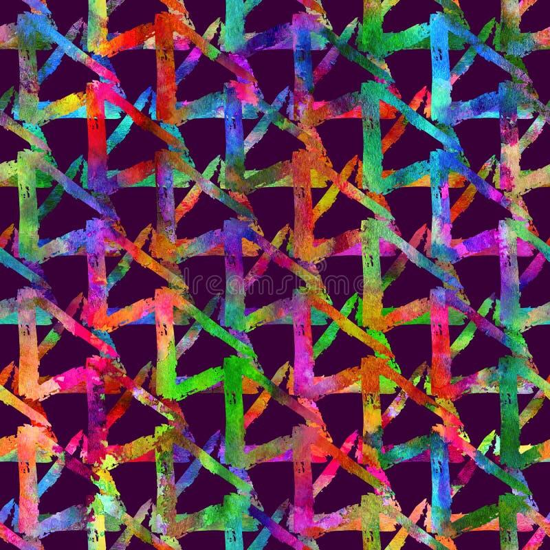 Bezszwowa wzoru muśnięcia trójboków szkocka krata Tęcza kolor na fiołkowym tle Ręka malująca folwarczek tekstura Atrament geometr ilustracja wektor