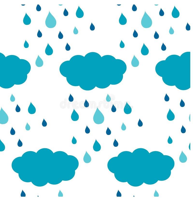 Bezszwowe chmury i deszcz kropel błękita wzór royalty ilustracja