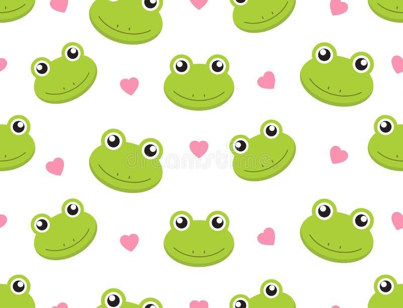 Bezszwowe deseniowe śliczne żaby z sercami na białym tle ilustracji