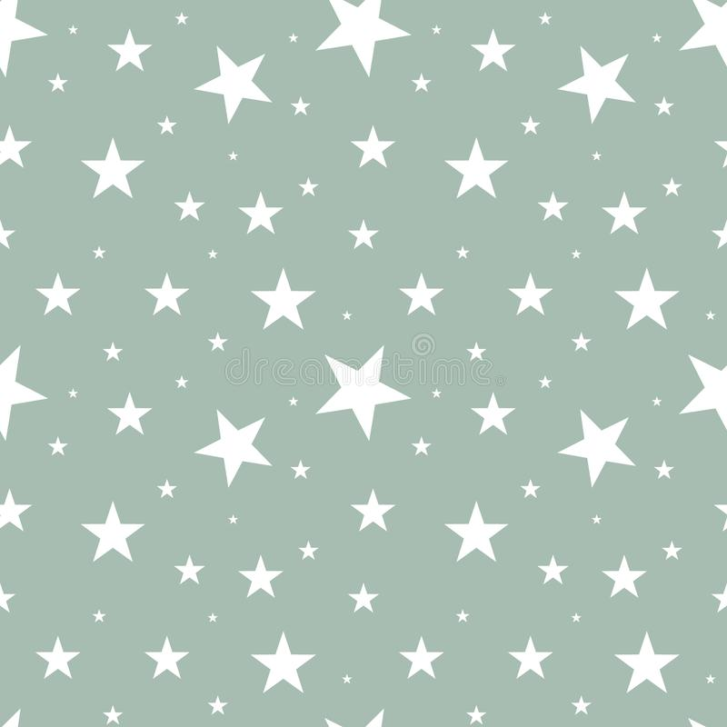 Bezszwowe deseniowe białe gwiazdy różni rozmiary rozpraszali w przypadkowym rozkazie na szarym tle Północny scandinavian retro st royalty ilustracja
